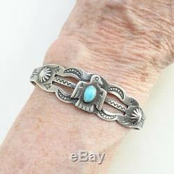 Old Navajo Turquoise Thunderbird Sterling Silver Cuff Bracelet Fred Harvey Era
