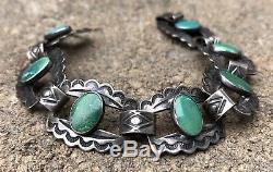 Old Pawn Fred Harvey Era Green CERRILLOS Royston Sterling Silver Link Bracelet
