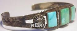 Old Pawn Fred Harvey Era Native American Navajo Sterling Silver Turquoise Cuff