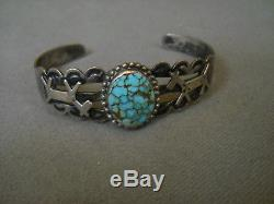 Old Pawn Fred Harvey Era Native American Turquoise Sterling Silver Cuff Bracelet