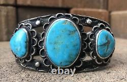 Old Pawn Fred Harvey Era Navajo Blue Gem Turquoise Sterling Silver Cuff Bracelet