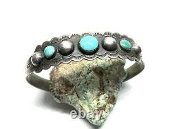 Old Pawn Fred Harvey Era Navajo Coin Silver Turquoise 6.75 Cuff Bracelet
