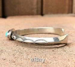 Old Pawn Fred Harvey Era Navajo Stamped Sterling Silver Turquoise Cuff Bracelet