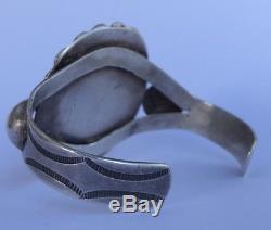 Old Pawn Fred Harvey Era Petrified Wood & Sterling Silver Wide Cuff Bracelet
