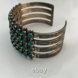 Old Pawn Fred Harvey Era Sterling Silver 4 Rows Petti-Point Turquoise Bracelet