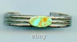 Old Pawn Fred Harvey Era Sterling Silver BLUE TURQUOISE Cuff Bracelet