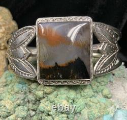 Old Pawn, Fred Harvey Era Sterling Silver & Petrified Wood Cuff Bracelet, 39.6g