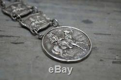 Old Pawn Fred Harvey Era Sterling Silver Watch Fob Indian Chief Horse victorian