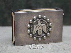 Old Pawn Fred Harvey Era Thunderbird Silver Matchbook Holder Vintage Navajo
