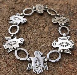 Old Pawn Fred Harvey Era Thunderbird Stamped Sterling Silver Link Bracelet 7