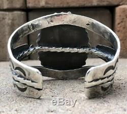 Old Pawn Fred Harvey Navajo Royston Turquoise Sterling Silver Wide Cuff Bracelet