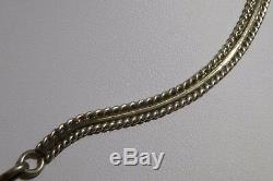 Old Pawn Fred Harvey Red Coral Bar Chain Necklace Sterling Silver Estate Vintage