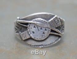 Old Pawn Fred Harvey Silver Cigar Band Ring Navajo Thunderbird Bow Arrows VTG 7