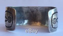 Old Pawn Fred Harvey Sterling Silver White AGATE Petrified Wood Cuff Bracelet