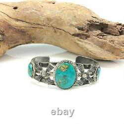 Old Pawn Fred Harvey era Navajo sterling silver turquoise cuff bracelet 39g