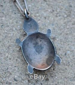 Old Pawn Native American Fred Harvey Era Silver Turquoise Turtle Fob Necklace