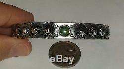 Old Pawn Navajo Fred Harvey Era Green Turquoise & Sterling Silver Cuff Bracelet