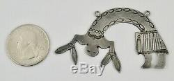 Old Pawn Navajo Fred Harvey Era Sterling Silver Hand Stamped Figural Pendant