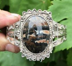 Old Pawn Navajo Fred Harvey Era Sterling Silver Red Petrified Wood Cuff Bracelet