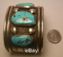Old Pawn Navajo Sterling Silver Turquoise Fred Harvey Era Cuff Bracelet 130 gram