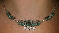 Old Pawn Needlepoint Turquoise & Sterling Silver NecklaceFred Harvey Era16.5L