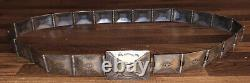 Old Pawn Sterling Silver Fred Harvey Era Navajo Hinged Concho Belt / Buckle