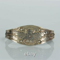 Old Real Bell Sterling Silver Fred Harvey Era Thunderbird Stamped Cuff Bracelet