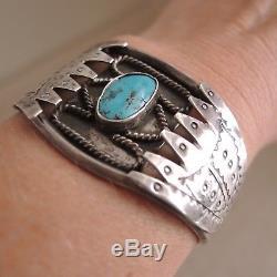 Old Turquoise Stamped Silver Cuff Bracelet Navajo Sterling Vtg Fred Harvey Era