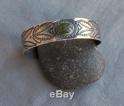 Old Unisex Fred Harvey Era Silver Green Turquoise Cuff Bracelet Rolling Logs
