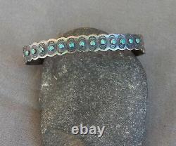 Old Vintage Fred Harvey Era IH Coin Silver Snake Eye Turquoise Cuff Bracelet