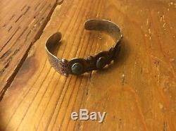 Old Vintage Fred Harvey Era Silver Green Turquoise Cuff Bracelet Navajo