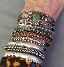 Old Vintage Fred Harvey Era Silver Stamped Green Turquoise Cuff Bracelet