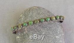 Old Vintage Fred Harvey Era Silver Stamped Green Turquoise Row Cuff Bracelet