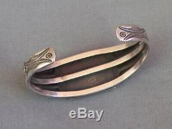 Old Vintage Fred Harvey Era Silver Stamped Rectangular Turquoise Cuff Bracelet