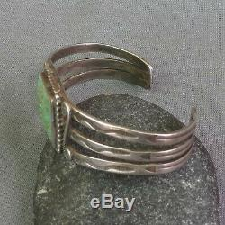 Old Vintage Fred Harvey Era Silver Stamped Snakes Green Turquoise Cuff Bracelet