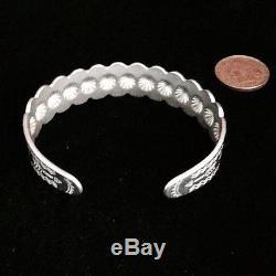 Old Vintage Fred Harvey Era Stamped Silver Domes Southwestern Cuff Bracelet