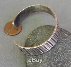 Old Vintage Fred Harvey Era Stamped Silver Unisex Cuff Bracelet