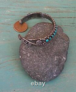 Old Vintage Fred Harvey Era Sterling Silver Blue Turquoise Row Cuff Bracelet