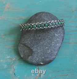 Old Vintage Fred Harvey Era Sterling Silver Green Turquoise Row Cuff Bracelet