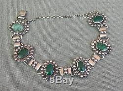 Old Vintage Green Turquoise Sterling Silver Fred Harvey Era Link Bracelet