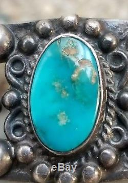 Old Vintage Navajo Fred Harvey Era With Three Turquoise Stones Cuff Bracelet