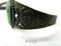 Old pawn Navajo Fred Harvey era sterling silver turquoise cuff bracelet sz. 6.5