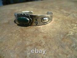 PETITE Old 1940's Fred Harvey Era Navajo Sterling Silver Turquoise Bracelet