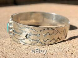 Pawn Fred Harvey Navajo Whirling Log Silver Cerrillos Turquoise Cuff Bracelet