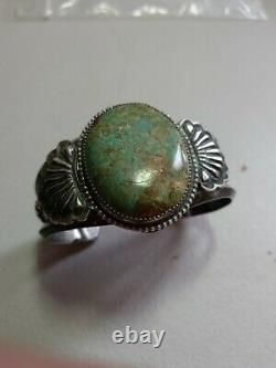 Pawn RARE WOW NAVAJO STERLING FRED HARVEY TURQUOISE CUFF 78grams