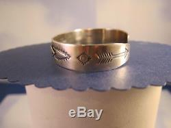 RARE Fred Harvey Navajo Coin Silver Applied Arrows Cuff Bracelet
