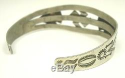 RARE OLD Fred Harvey Era Navajo Coin Silver WHIRLING LOG Stamped Cuff Bracelet