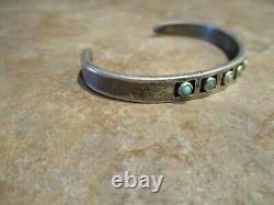 RARE OLD Fred Harvey Era Navajo Silver SNAKE EYE Turquoise Shadowbox Bracelet