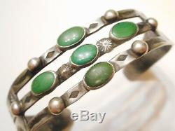 RARE Old Pawn FRED HARVEY Vintage STERLING Silver & TURQUOISE Cuff BRACELET