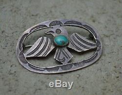 RARE VTG Old Pawn Navajo Fred Harvey Era Silver Turquoise Thunderbird Pin 1930s